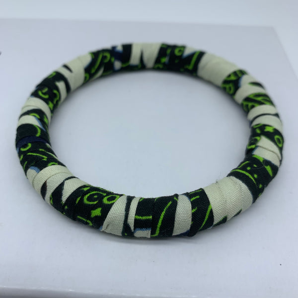 African Print Bangle-Green Variation 3