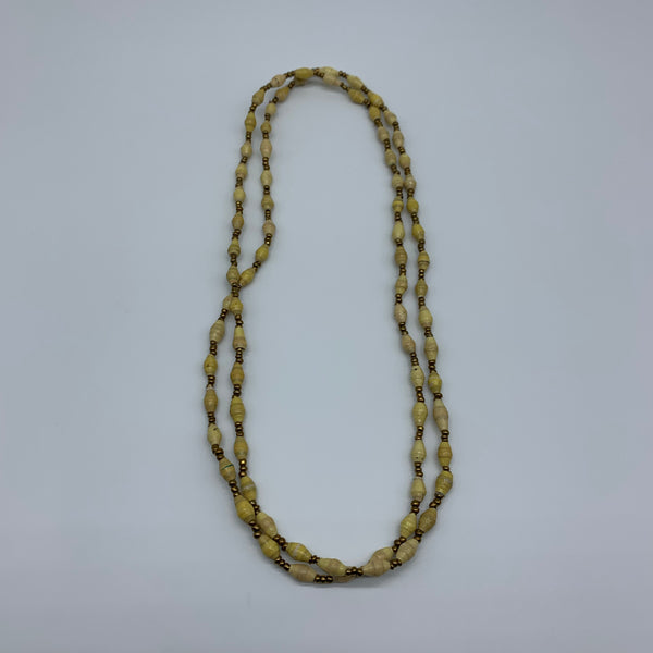 Paper Necklace with Beads-Yellow Variation