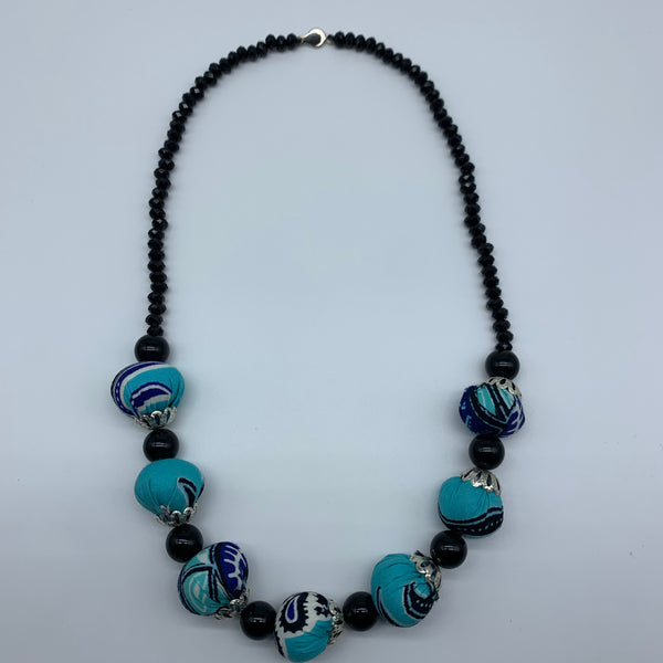 African Print Necklace W/ Beads-Blue Variation