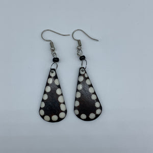 Cow Bone Earrings-Black with White Dots