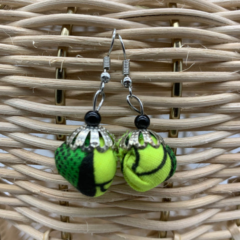 African Print Earrings W/ Beads-Puff Ball Green Variation 2