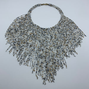 Beaded Necklace-Waterfall M White Variation - Lillon Boutique