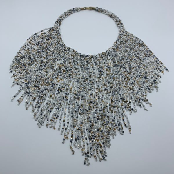 Beaded Necklace-Waterfall M White Variation