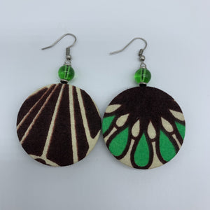 African Print Earrings W/ Beads-Round XS Brown Variation