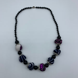 African Print Necklace W/ Beads-Purple Variation 4 - Lillon Boutique