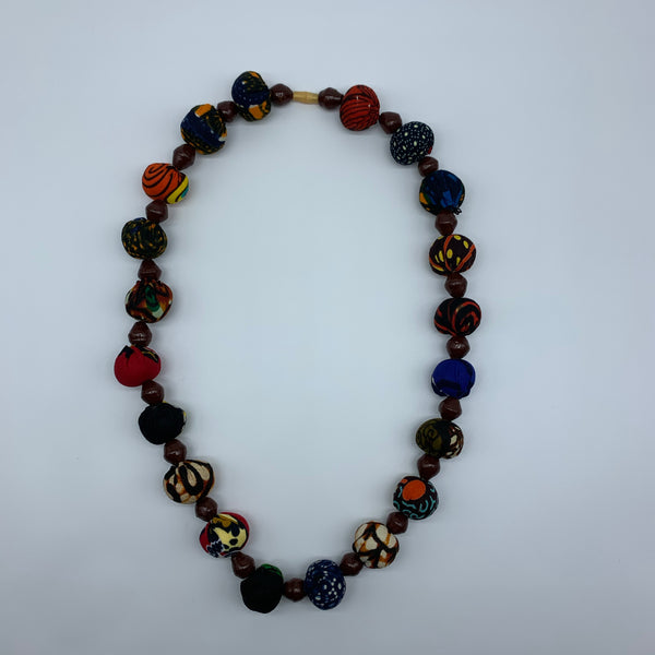 African Print Necklace W/Recycled Paper Beads- Brown Variation