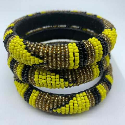 Beaded Bangle-Yellow Gold Black Variation - Lillon Boutique