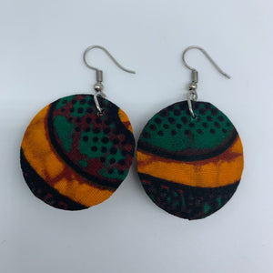 African Print Earrings-Round XS Green Variation 14