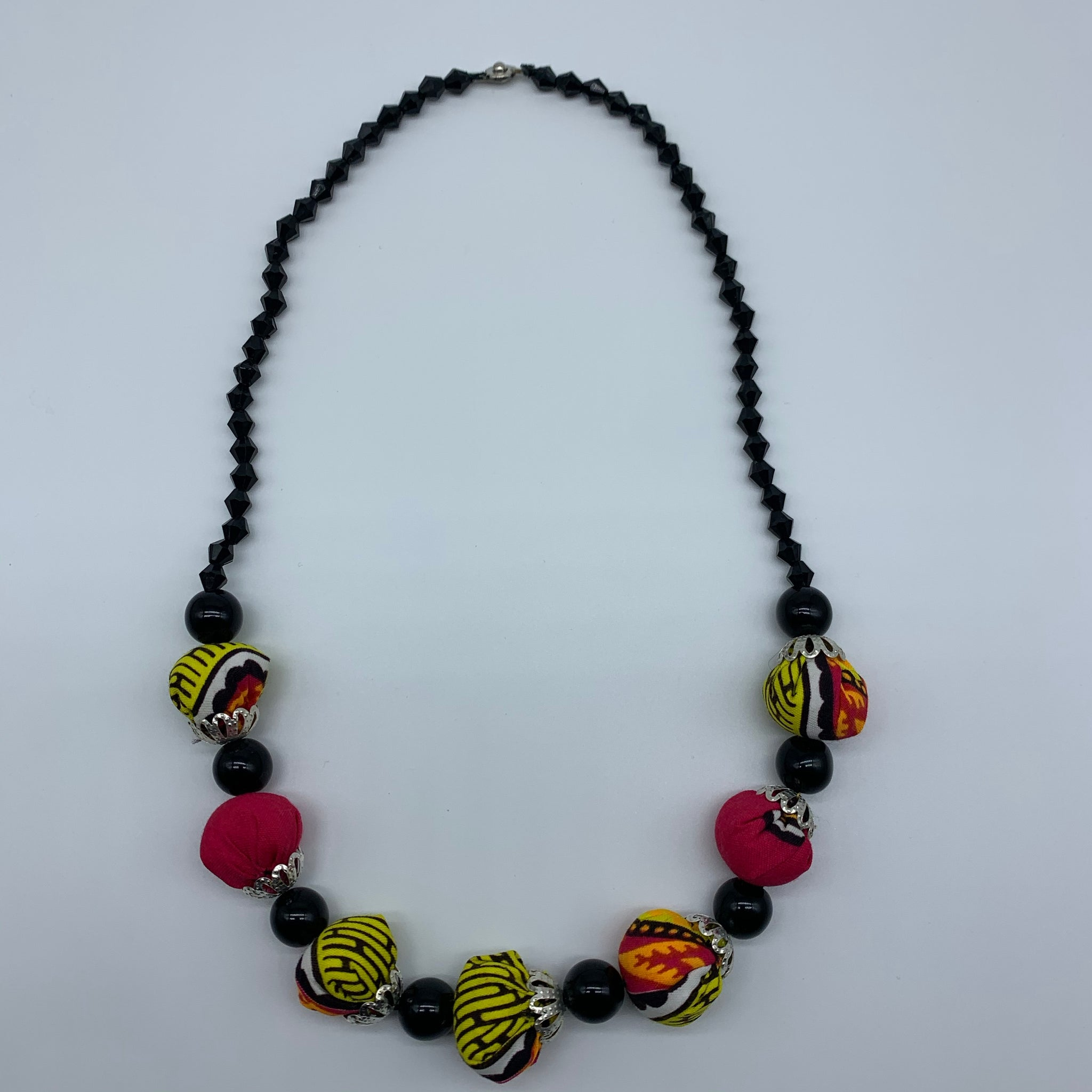 African Print Necklace W/ Beads-Pink Variation