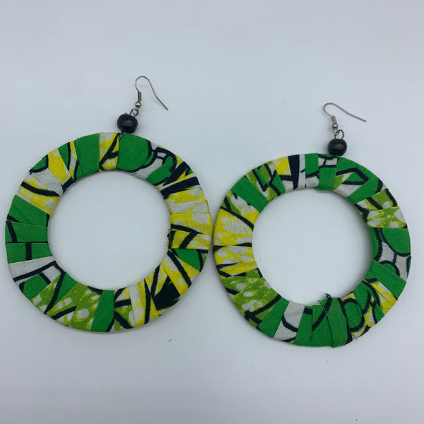 African Print Earrings-Green Variation