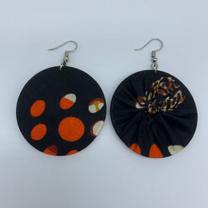 African Print Earrings-Round S Black Variation 8