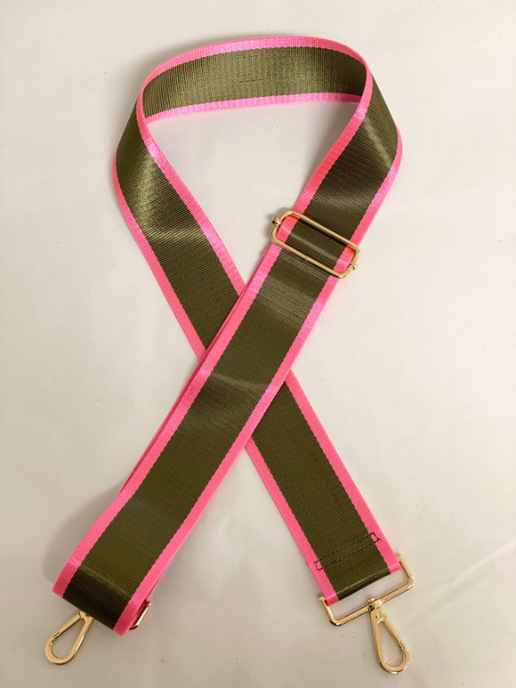 Olive With a Pop of Hot Pink Strap