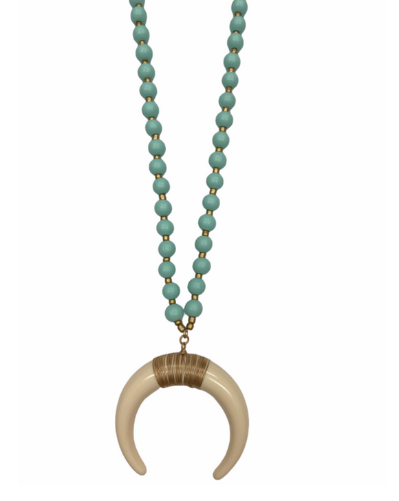 Capri Crescent Necklace in Aqua