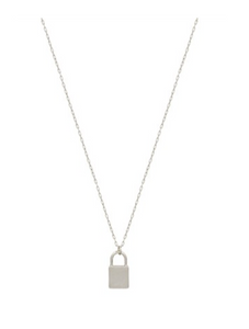Silver Lock Charm Necklace