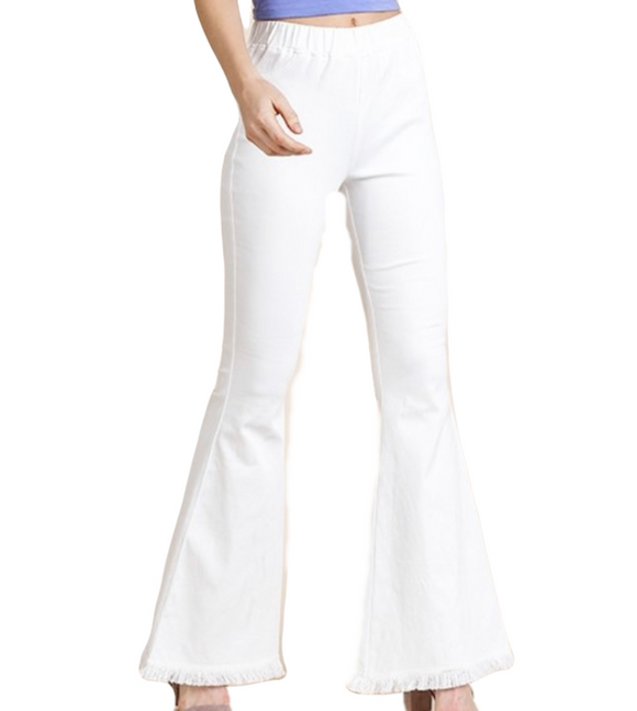 Flare Fringe Pants White