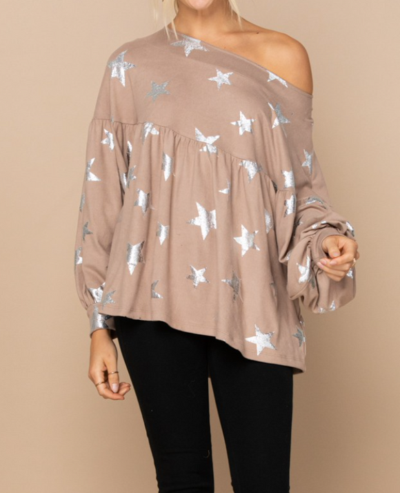 Metallic Star Knit Babydoll Top