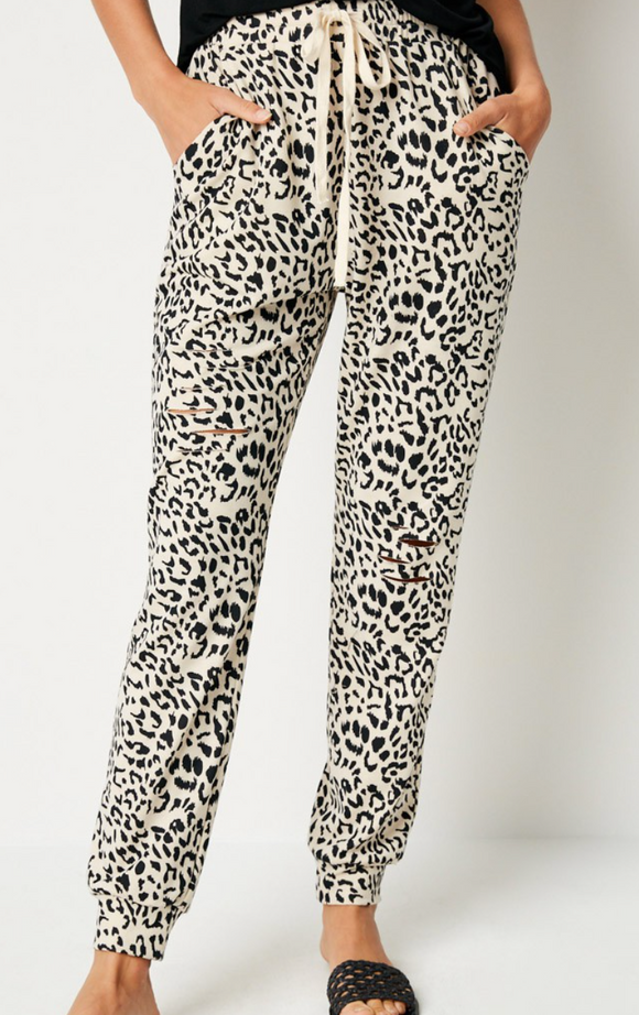 Distressed Leopard Jogger