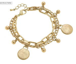Serena Disc Layered Chain Link Bracelet