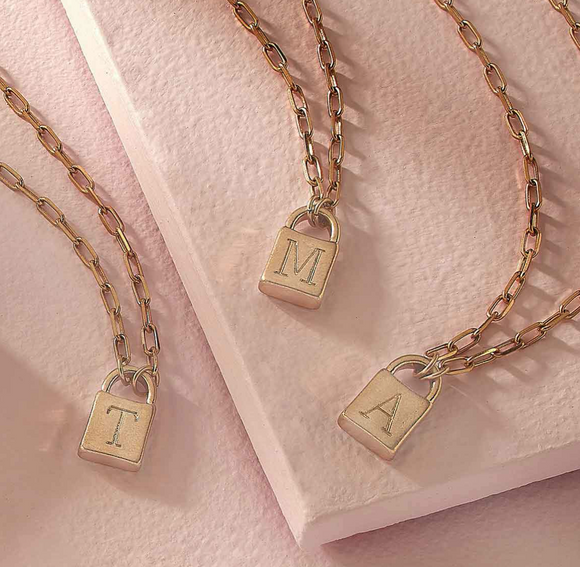 Kendall Padlock Initial Necklace