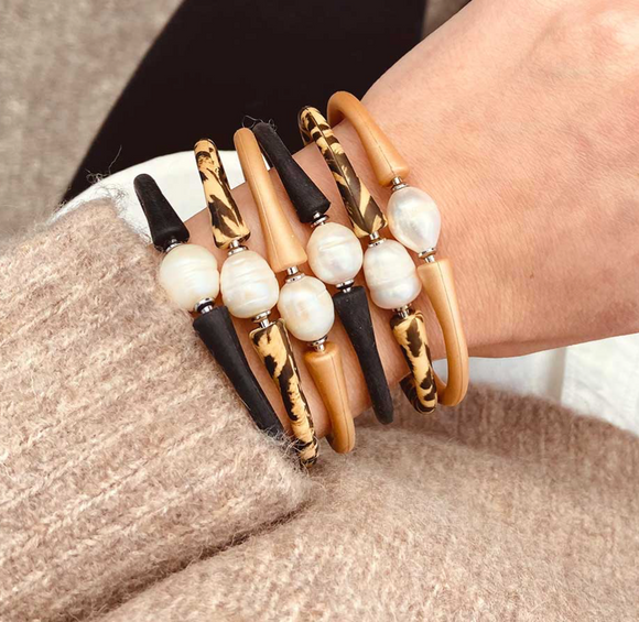 Bali Freshwater Pearl Silicone Bracelet
