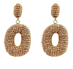 """O"" My! Beaded Earrings in Gold"