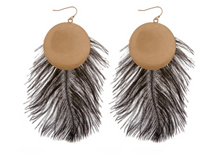 Gold Disc Feather Earrings