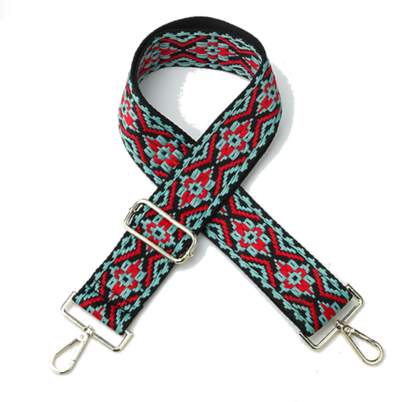 Black, Red, and Teal Embroidery Strap