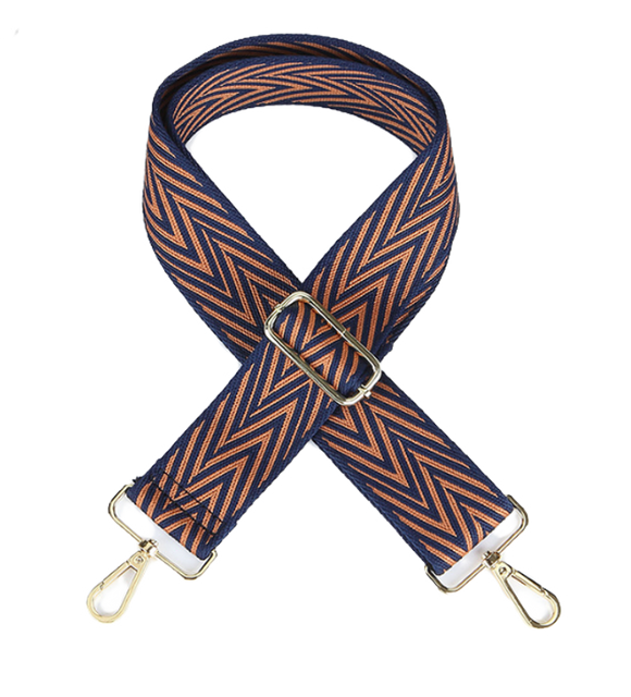 Navy and Caramel Zig Zag Strap
