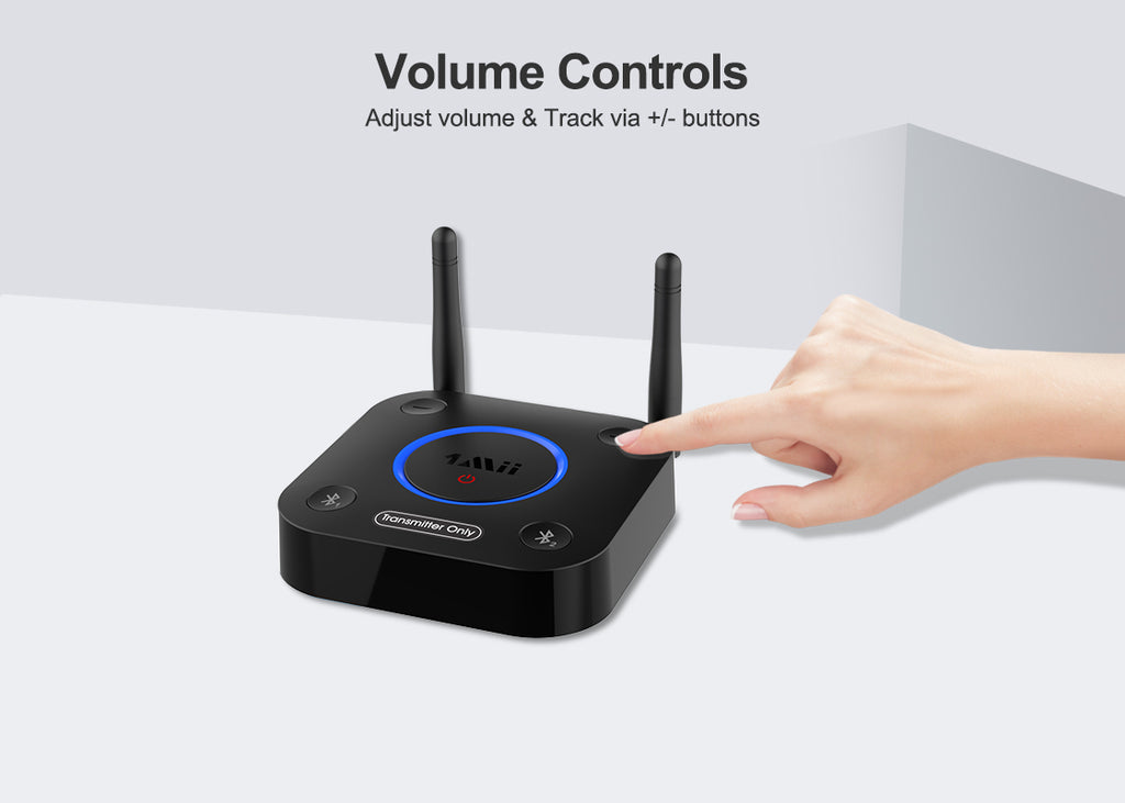 1mii bluetooth tranmitter for TV adjust volume & Track via +/- buttons
