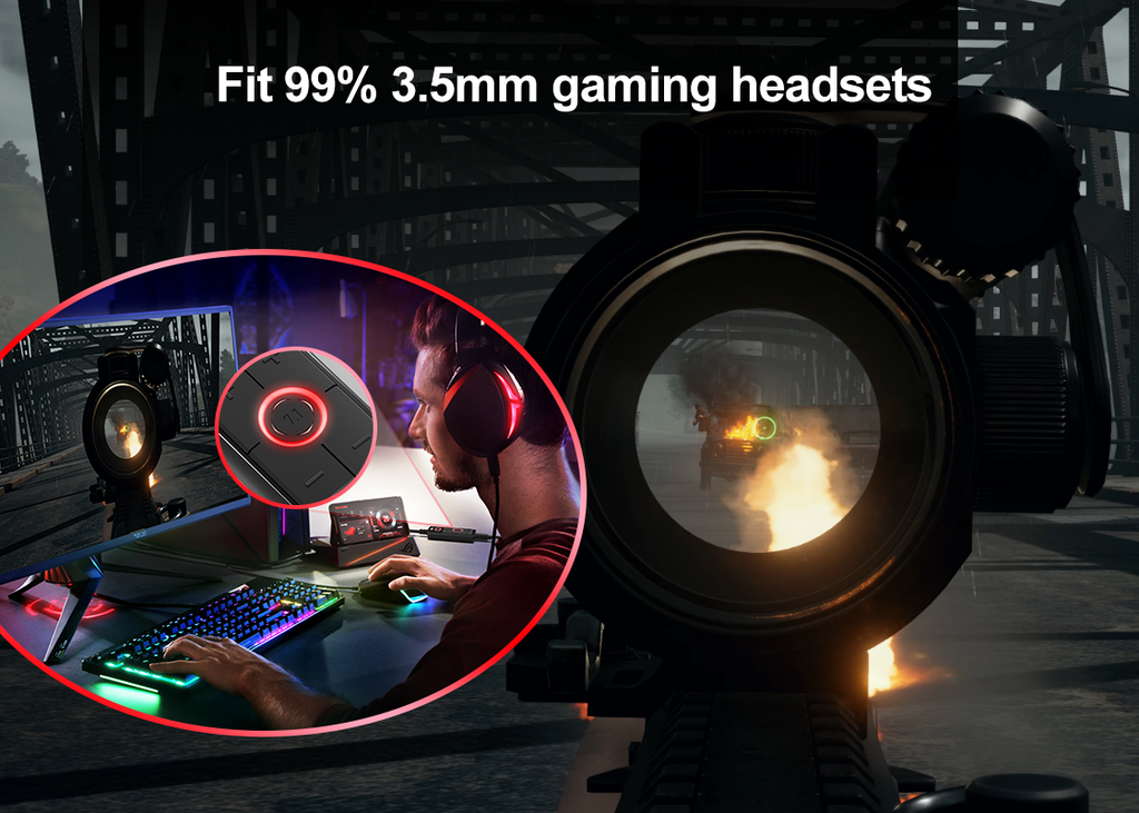 1Mii 7.1 Surround Sound Card Audio Adapter, Fit 99% 3.5mm gaming headsets and headphones