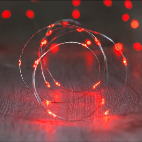 20 LED COPPER FAIRY LIGHTS - RED - My Amazing Treasures