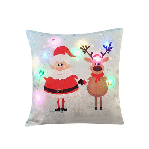 Christmas Lighting LED Cushions Cover Home Decoration Throwing Pillowcase - My Amazing Treasures