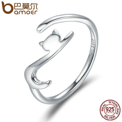BAMOER 100% 925 Sterling Silver Sticky Cat with Long Tail Finger Ring Adjustable - My Amazing Treasures