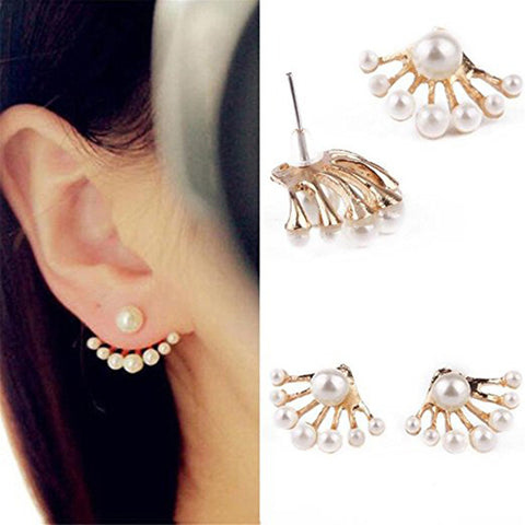 Women Lovely Crystal Earrings Pearl Ear Stud Front and Back