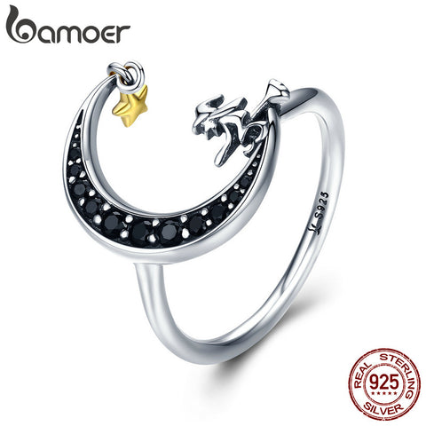 BAMOER 100% 925 Sterling Silver Magic Witch in Moon Star Black CZ Dangle Finger Ring - My Amazing Treasures