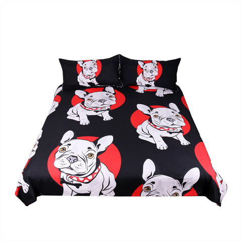 Bulldog Bedding Set Black and Red Quilt Cover With Pillowcases for Kids 3-Piece - My Amazing Treasures