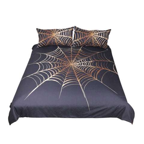 Cobweb Bedding Set King Golden and Black  Duvet Cover Microfiber 3-Piece - My Amazing Treasures