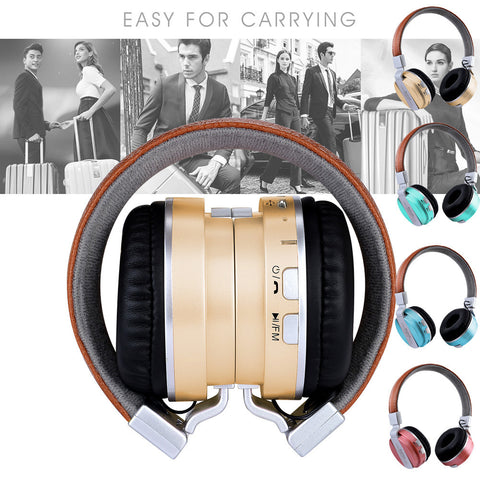 Bluetooth Headphones Over Ear Stereo Wireless Headset With Microphone TF - My Amazing Treasures