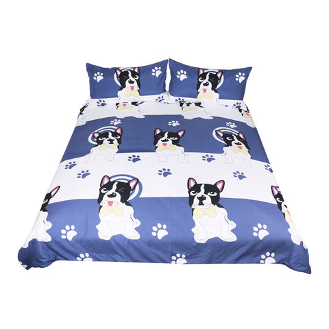 Dog Blue and White Duvet Cover Animal Pug Printed Bedding Set - My Amazing Treasures