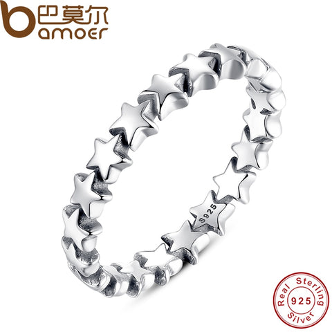 BAMOER Star Trail Stackable Finger Ring For Women Wedding 100% 925 Sterling Silver Jewelry - My Amazing Treasures