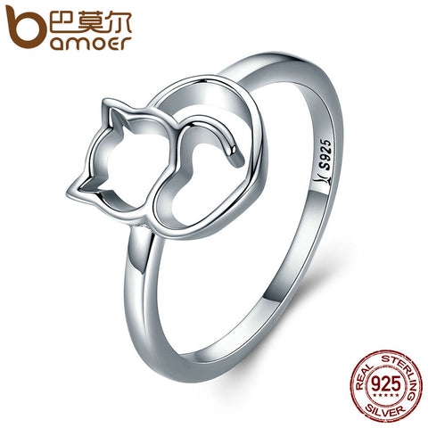 BAMOER Authentic 100% 925 Sterling Silver Naughty Little Cat & Heart Finger Ring - My Amazing Treasures