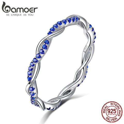 BAMOER New Arrival 925 Sterling Silver Ring Twisted Line Round Blue CZ Finger Ring - My Amazing Treasures