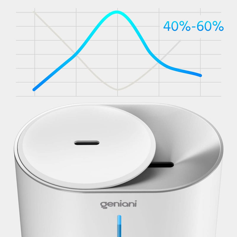 Top Fill Cool Mist Humidifier Geniani Huron White: optimal humidity
