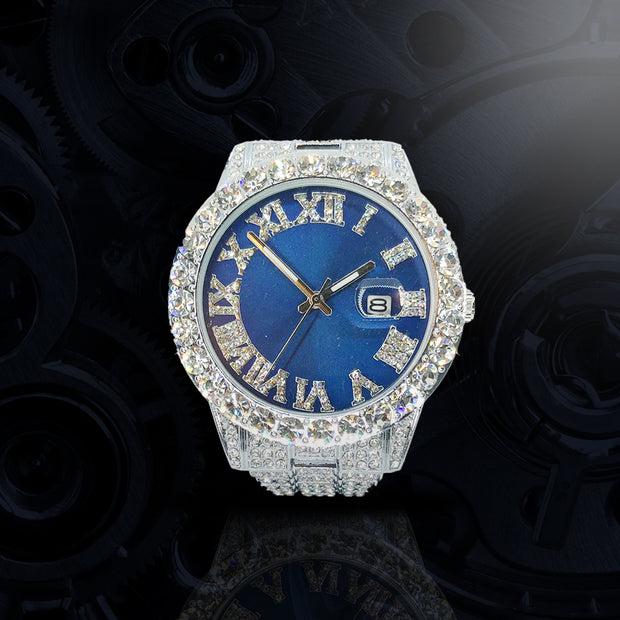 18k White Gold Plated 40mm Blue Roman Dial w/Date - eGen Club