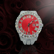 18k White Gold Plated 40mm Red Roman Dial w/Date - eGen Club