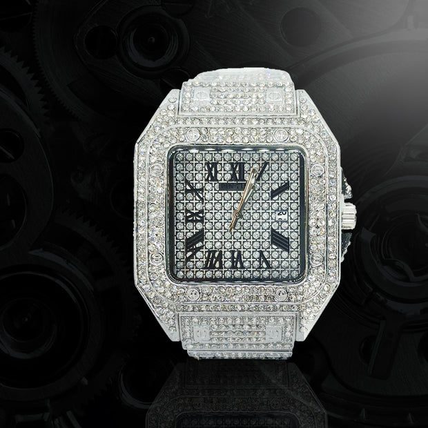 18k White Gold Plated 42mm Pave Set Square face w/Date - eGen Club