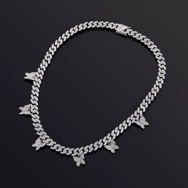 18k White Gold Plated Butterfly Cuban Link Chain - eGen Club