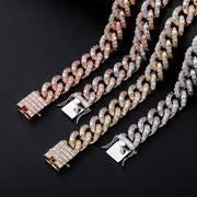16mm 18k Yellow Gold Plated Baguette Miami Cuban Link Chain - eGen Club