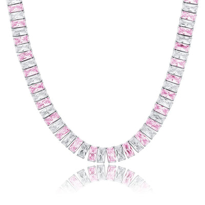 18k White Gold Plated Pink Baguette Choker Necklace - eGen Club