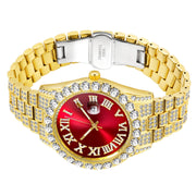 18k Yellow Gold Plated 40mm Red Roman Dial w/Date - eGen Club